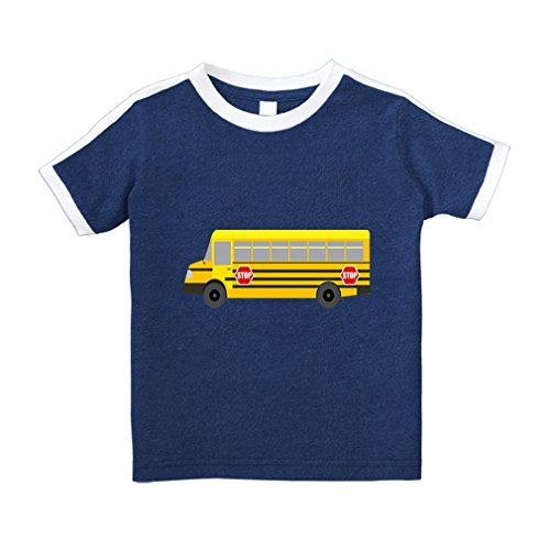 School Bus Car Auto Style 2 Cotton Short Sleeve Crewneck Unisex Toddler T-Shirt Soccer Tee - Royal Blue, 4T