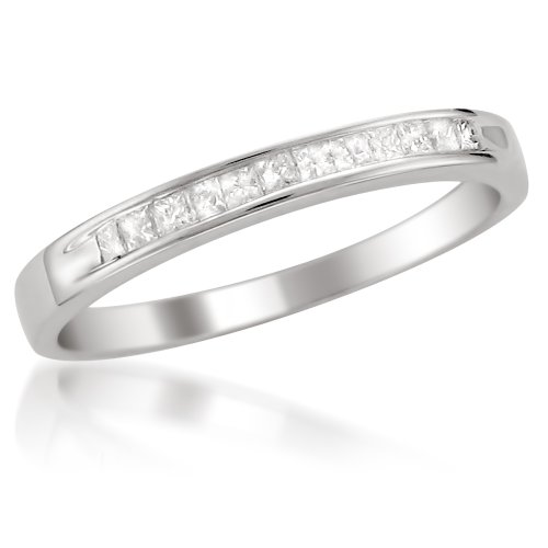 Platinum Princess-cut Diamond Bridal Wedding Band Ring (1/4 cttw, H-I, SI2-I1)