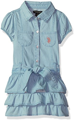 (U.S. Polo Assn. Girls' Toddler' Casual Dress, Two Chest Pockets Ruffles ice wash,)