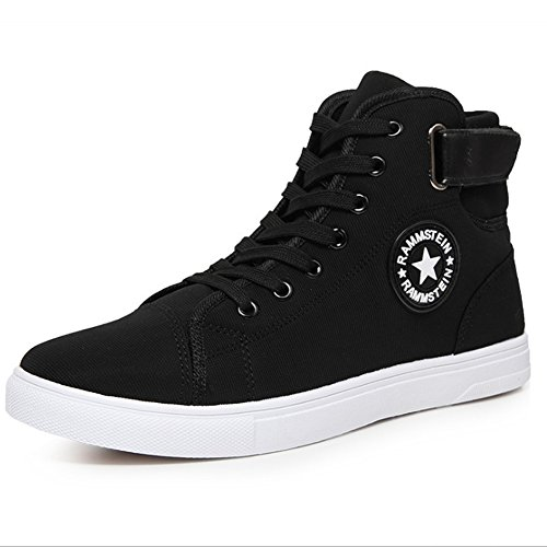 PP FASHION Mans Flat Heel Casual Canvas Shoes Fashion High Top Lace Up Sneakers Black 6unlnuQL