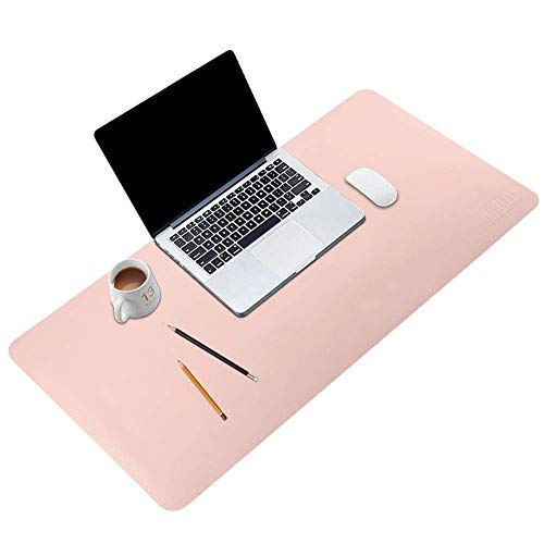 BUBM Desk Pad Office Desktop Protector 31.5 x 15.7, PU Leather Desk Mat Blotters Organizer with Comfortable Writing Surface-Pink