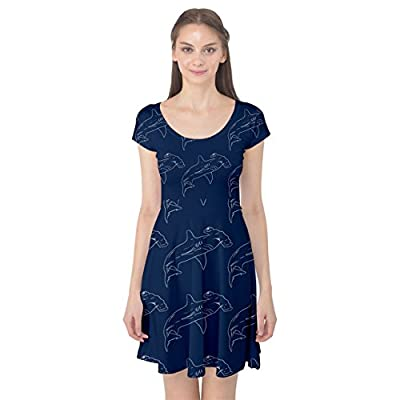 CowCow Womens Blue Hammerhead Shark Pattern Cap Sleeve Dress