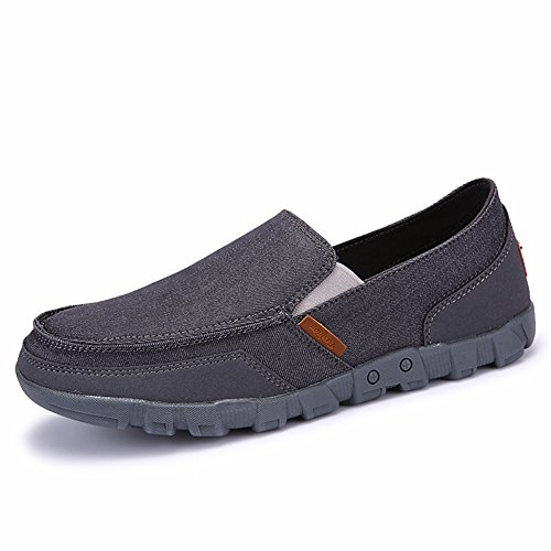 SANBANG Männer Slip-On Loafers Flach Leinwand Bootsschuhe Für Fahren Gehen Jäten Im Freien Grau-2
