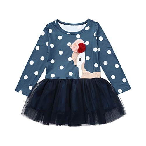 Princess Lace Dress Outfits,2-8 Years Toddler Kids Baby Girl Cartoon Flower Deer Clothes (4-5 Years, Navy) ()