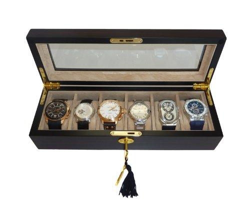 Elegant 6 Piece Ebony Wood Watch Display Case and Storage Organizer Box