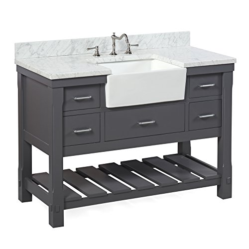 Charlotte 48-inch Bathroom Vanity (Carrara/Charcoal Gray): Includes a Carrara Marble Countertop, Charcoal Gray Cabinet with Soft Close Drawers, and White Ceramic Farmhouse Apron Sink