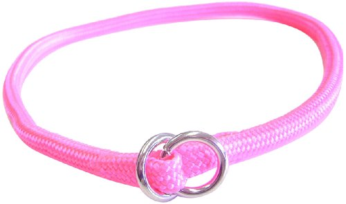 (Hamilton 828 HP 5/16-Inch by 18-Inch Round Braided Choke Nylon Dog Collar, Hot Pink)
