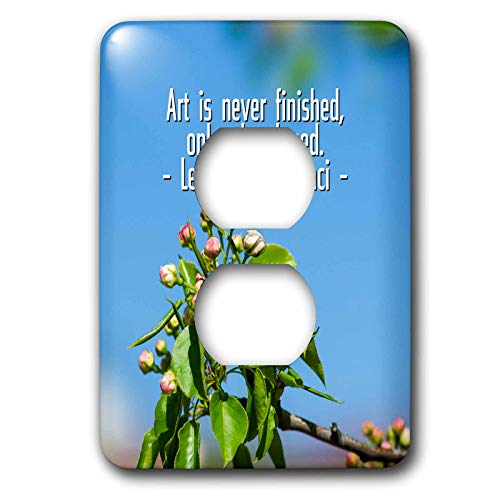 - 3dRose Alexis Design - Quotes Leonardo da Vinci - Art is never finished, only abandoned da Vinci quote, apple flowers - Light Switch Covers - 2 plug outlet cover (lsp_303745_6)