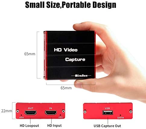 Mirabox USB3.0 4K HDMI Video Capture Card, 1080P 60FPS HD Game Capture Device Cam Link with HDMI Passthrough Work with Xbox PS4 Nintendo Switch DSLR for OBS Twitch Game Live Streaming and Recording