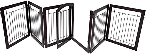 BIRDROCK HOME Indoor Dog Gate with Door | 6 Panel | 30 Inch Tall | Enclosure Kennel Pet Puppy Safety Fence Pen Playpen | Durable Wooden and Wire | Folding Z Shape Free Standing | Espresso