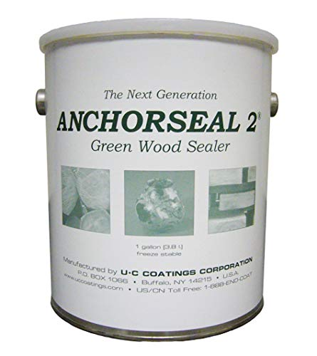 ANCHORSEAL 2 Hybrid Log & Lumber end Grain Sealer - Water-Based Wax & Polymer Prevents up to 90% of end Checking (Drying Splits) on Cut Ends. Green Wood Sealer for Turning Blanks & Bowls. (1 Gallon) ()