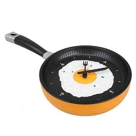 e36dce9ec Fried Egg Omelette Frying Pan Kitchen Novelty Wall Clock with Fork   Knife  Hands (Orange)  Amazon.co.uk  Kitchen   Home