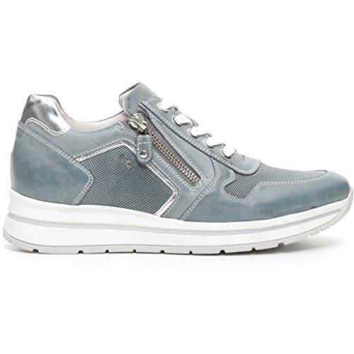 Sneakers NeroGiardini per donna in pelle blu jensato con lacci e lampo (Taglia 38)