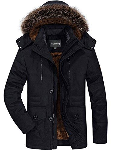 Tanming Men's Winter Warm Faux Fur Lined Coat with Detachable Hood (Large, Black)