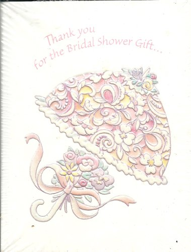Bridal Shower Invitations Umbrella (Thank You for the Bridal Shower Gift! Thank You Cards 10 Count with Envelopes Hearts Embossed Floral Umbrella)