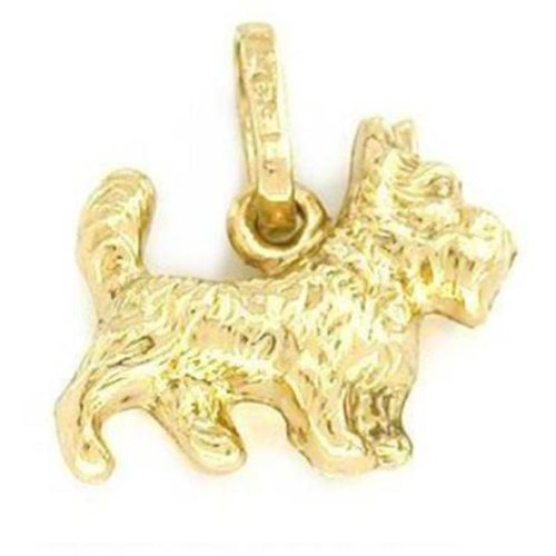14K Gold Scottish Terrier Dog Charm Doggy Jewelry 9mm - Gold Terrier Dog Charm