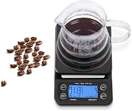 huismart escala de café con temporizador digital, báscula de cocina alimentos escala, multifuncional LCD w/azul Backlit, pilas incluidas, color negro