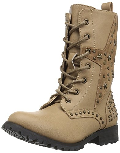 Gia Mia Dancewear Big Girl's Star Studded Combat Boot, Tan, 13C Medium US Kid