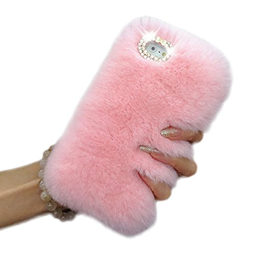 Plush Case (iPhone 7 Plus Case,Vandot [Slim Fit] Premium Bling Crystal Diamond Warm Fluffy Rex Rabbit Fur Case Winter Handmade Soft Hair Plush Back Cover with Lovely Bowknot for iPhone 7 Plus 5.5 inch -Pink)