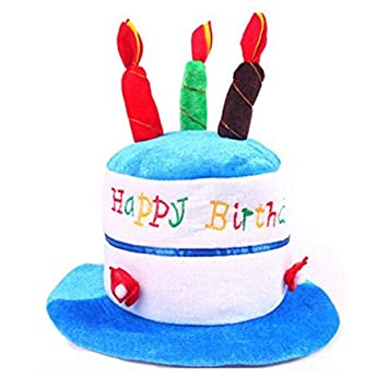 Shes Shining Children Adults Birthday Cake Party Fancy Dress Funny Hat With Candles On Top Blue Amazoncouk Toys Games
