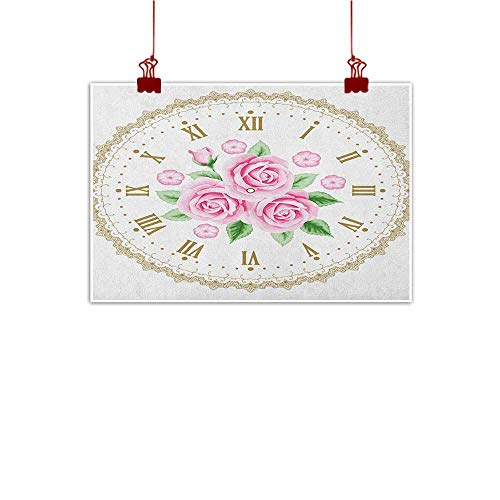 Wall Painting Prints Shabby Chic,Vintage Clock Face Roses Roman Numbers Antique Vintage Style, Pale Pink Green Dark Khaki 32