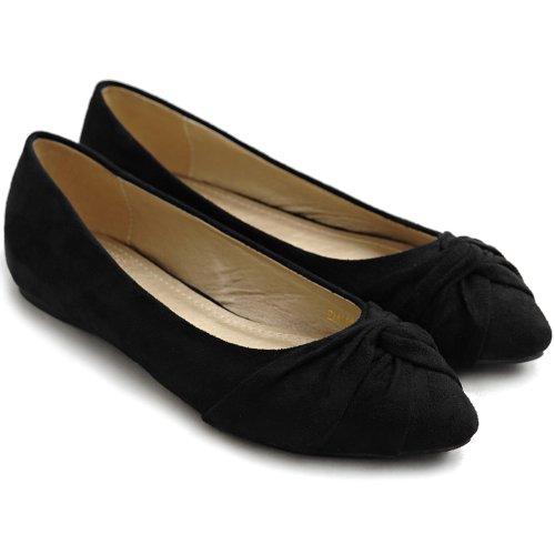 Ollio Womens Balletschoen Knoop Faux Suede Comfort Cute Flat Zwart