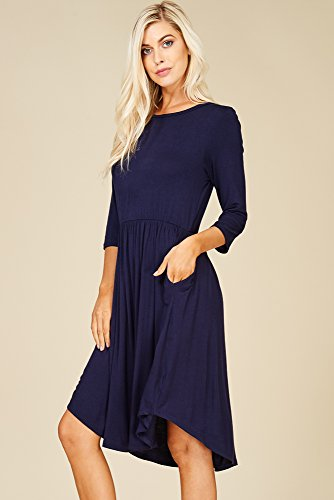 Scoop Waist Pockets Sleeve High 3 Women's Annabelle Side Dress 4 Empire With Navy Neck Rcnq6UUw5