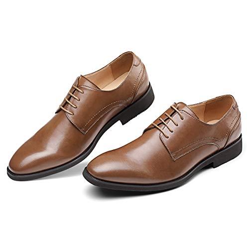 (Men's Brown Dress Shoes Formal Lace Up Blucher Oxford Shoes 10.0)
