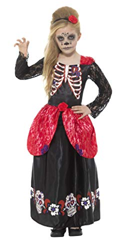 Smiffys Deluxe Day of The Dead Girl Costume, Black, Small -