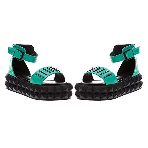 Frauen Grün Open Toe Material Low weiches Heels Solid AllhqFashion Sandalen Reißverschluss Odvwq17t1