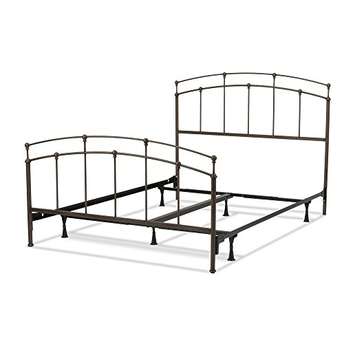 Fenton Complete Bed with Metal Duo Panels and Globe Finials, Black Walnut Finish, California King - Duo Panel Headboard