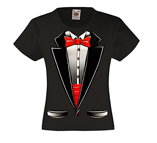 Fresh Tees Brand- Kids Tuxedo With Bow Tie T-shirt Funny Shirts (Medium (10-12), Black) Bow Girls T-shirt