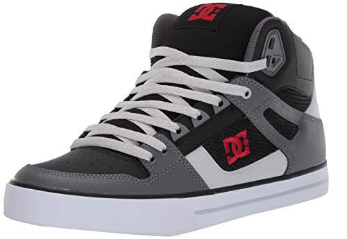 DC Men's Pure HIGH-TOP WC Skate Shoe, Black/Grey/red, 10.5 M US