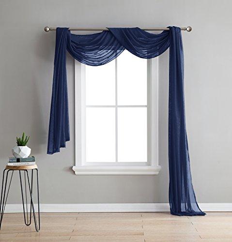 Karina - Semi-Sheer Window Scarf (54 x 144) - Elegant Home Decor Window Treatments - Add to Window Curtains for Enhanced Effect (1 Scarf 54
