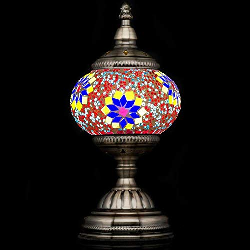 Handmade Turkish Glass Mosaic Table Lamp with Mosaic Lantern for Room Decoration (Red,Yellow)