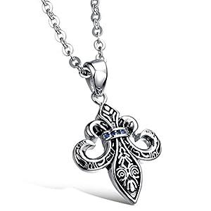 Gorgeous Jewelry Retro Cross Flower Shape Blue Zircon Studded Men's Titanium Steel Black Necklace