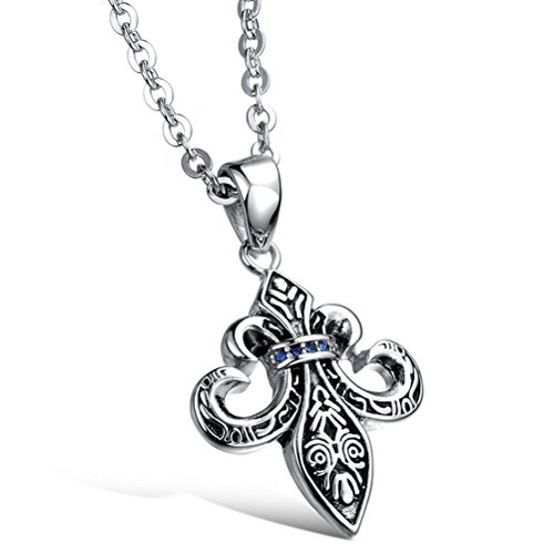 Gorgeous Jewelry Retro Cross Flower Shape Blue Zircon Studded Mens Titanium Steel Black Necklace