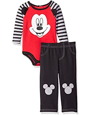 Baby Boys' 2-Piece Mickey Mouse Pant Set with 3d Knee Patches