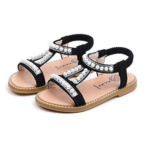 - Todaies Toddler Infant Kids Sandals,Baby Girls Pearl Crystal Single Roman Shoes (22, Black)