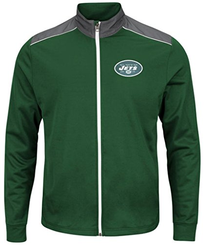 New York Jets NFL Mens Majestic Therma Base Tech Team Full Zip Track Jacket Green Big Sizes - Royal Base Blue Therma