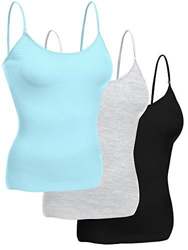 Emmalise Women Layering Basic Short Camisole Cami Adjustable Strap Tank Top - 3Pk- Aqua Blue, Hgray, Black, (Aqua Juniors Tank Top)
