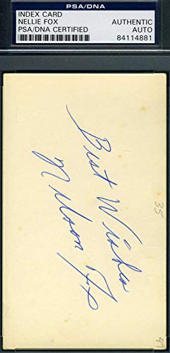 NELLIE NELSON FOX PSA DNA Autograph 3x5 Signed Index Card