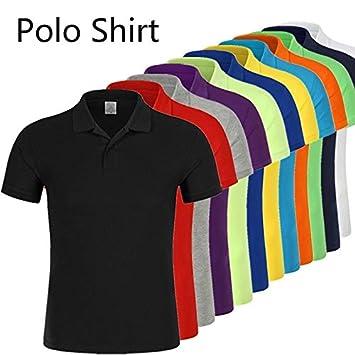 Hylong Cotton Men Polo Shirts Mens Lapel Short-Sleeved Mens Polo Shirt Red XL