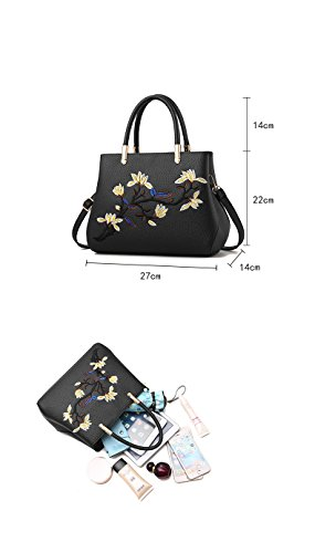 Crossbody Handbags Bag Tote Blue Embroidery Shoulder Women Flada Liht Flower Bags Red q0wYnA4