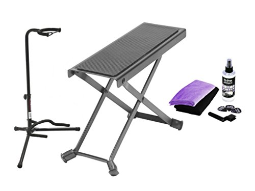 Combo offer On Stage Black Tripod Guitar Stand, Guitar Foot Rest and Universal Guitar Care Kit by OnStage