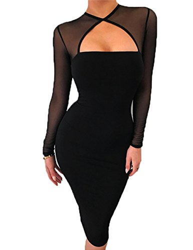 - UZZDSS Black-M Women Midi Length Cut Out Keyhole Party Bodycon Bandage Dress With Transparent Long Sleeves