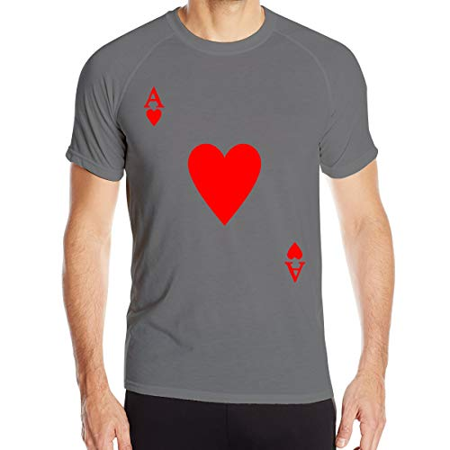 - VANMASS RED Heart of A Ace of Spades Poker Face Mens Quick Dry Short Sleeve Athletic Shirt Deep Heather