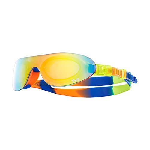 TYR Kids SwimShades Mirrored Googles, Rainbow/Fluro Yellow/Fluro Orange, One - Shades Swim
