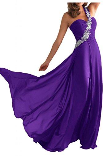 Toscana sposa un-spalla Chiffon abiti da sera per donna color un'ampia Party ball giovane sposa vestimento viola 40