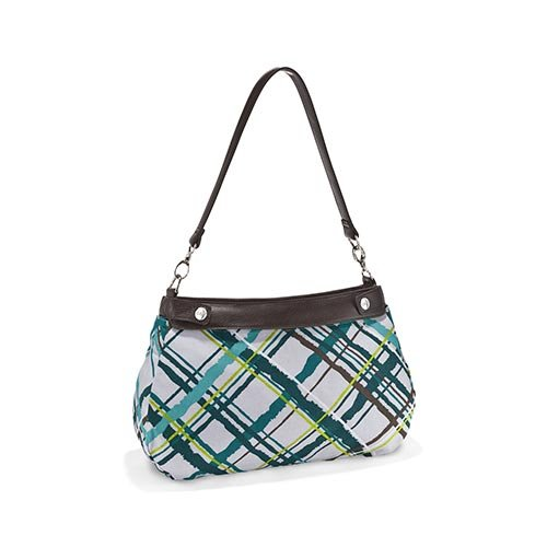 Fabric Suite - Thirty One Suite Skirt Purse Brown with Sea Plaid Fabric skirt